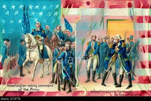 D7XFTA Washington taking command of the Army and Washington's farewell to his officers - two scenes from George Washington's Military life
